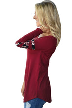 Load image into Gallery viewer, Red Floral Print Splice Sleeve Pullover Blouse