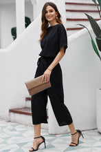 Load image into Gallery viewer, Black Always Chic Belted Culotte Jumpsuit