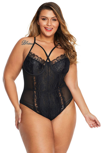 Black Cross Front Lace Detail Plus Size Teddy
