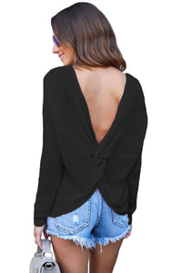 Black Knit Sweater with Twist Back Detail