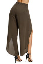 Load image into Gallery viewer, Coffee Tie Front Tulip Slit Palazzo Pants
