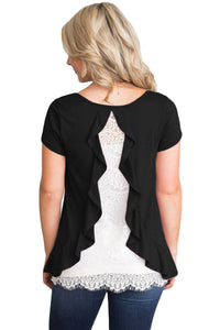 Black Short Sleeve Top with Lace Back