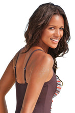 Load image into Gallery viewer, Brown Boho Print One Piece Swimwear