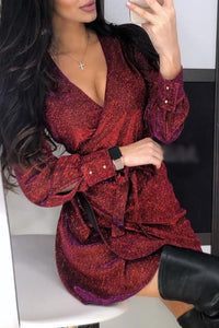 Red Wrap Metallic Dress with Belt