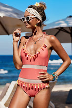 Load image into Gallery viewer, Red Mesh Patchwork One-piece Swimsuit