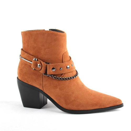 2020 New Boots Women Pointed Toe Mid Heel Ankle Boots Thick Square Heel Slip On Western Boots Cowboy Boots Women