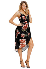 Load image into Gallery viewer, Deep V Neck Floral Print Boho Dress in Black