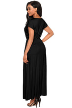 Load image into Gallery viewer, Black Crisscross V Neck Short Sleeve Maxi Jersey Dress