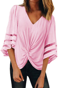 Pink V Neck Flared Sleeve Twisted Detail Loose Blouse