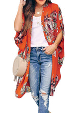 Load image into Gallery viewer, Coral Red Gorgeous Peony Floral Kimono