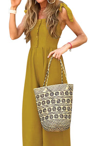 Yellow Button Down Sleeveless Wide Leg Jumpsuit