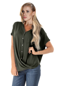 Green Short Sleeve Button up Blouse with Twisted