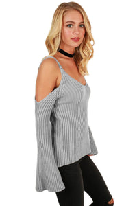 Gray Cold Shoulder Bell Sleeve Sweater