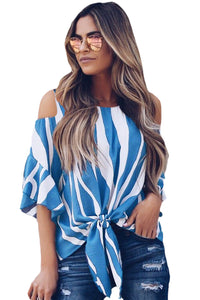Sky Blue Cold Shoulder Vertical Stripes Blouse