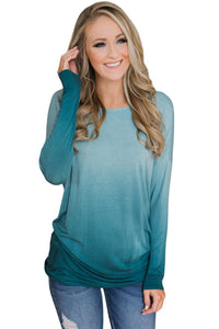 Sky Blue Ombre Long Sleeve Top