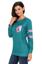 Load image into Gallery viewer, Floral Patch Accent Turquoise Sweatshirt