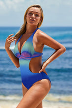 Load image into Gallery viewer, Green Ombre Color Block Halter Monokini