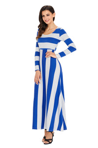 Blue Bold Stripe Long Sleeve Maxi Dress