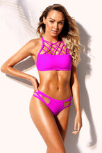 Load image into Gallery viewer, Fuchsia Lattice High Neck 2pcs Strappy Bikini Swimsuit