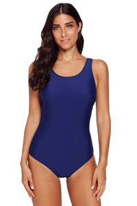 Navy Blue Criss Cross Back One Piece Swimsuit