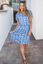 Load image into Gallery viewer, Blue Short Sleeve Dress Floral Print Dress