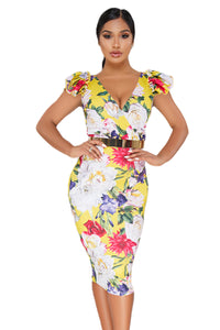 Yellow Bodycon Midi Dress with Floral Print