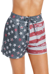 American Flag Print Print Charcoal Casual Shorts