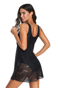 Black Ruched Lace Patterned Swimdress