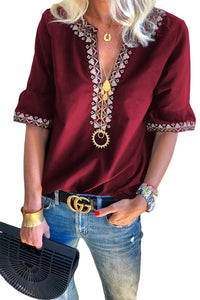 Red Boho Floral V Neck Casual Top