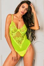 Load image into Gallery viewer, Green Sheer Mesh Lace Cupped Teddy Lingerie
