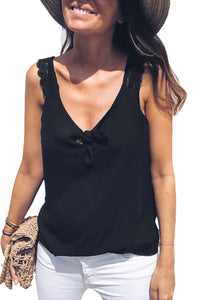 Black Front Knot Lace Shoulder Sleeveless Tank Top