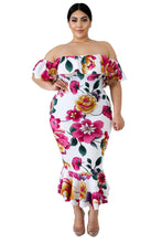 Load image into Gallery viewer, White Off-the-shoulder Floral Mermaid Plus Size Dress