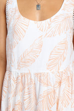 Load image into Gallery viewer, Beige Leaf Pattern Ruffled Summer Boho Dress