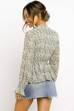 Load image into Gallery viewer, Green High Neck Boho Floral Blouse