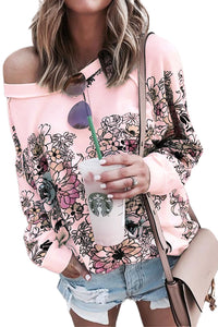 Pink Free People Go on Floral Printed Pullover
