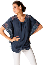Load image into Gallery viewer, Navy Lace Splice Batwing Sleeve Chiffon Blouse
