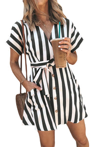 Black Fashion Stripe Short Sleeve Casual Dress