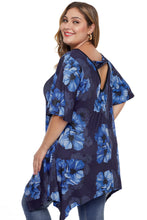 Load image into Gallery viewer, Black & Cobalt Blue Floral Plus Size Top