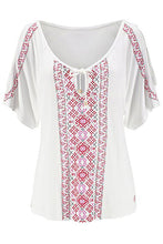 Load image into Gallery viewer, White Cold Shoulder Printed Top