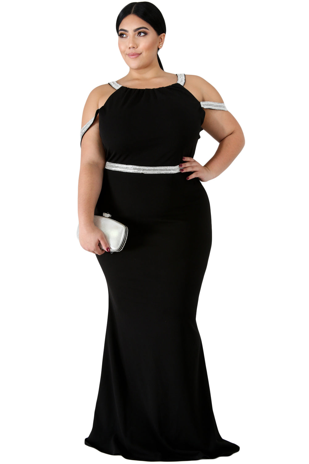 Black Plus Size Rhinestone Galore Maxi Dress
