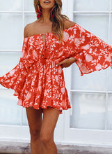Load image into Gallery viewer, Red Off Shoulder Boho Romper