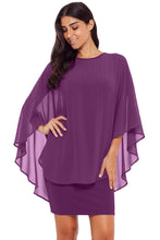 Load image into Gallery viewer, Purple Slinky Sexy Gauze Cape Mini Dress