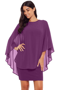 Purple Slinky Sexy Gauze Cape Mini Dress