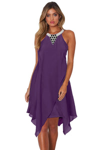 Purple Sleeveless Short Handkerchief Dress