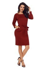 Load image into Gallery viewer, Burgundy Roll-tab Long Sleeve Tie Waist Midi Dress