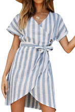 Load image into Gallery viewer, Sky Blue V Collar Short Sleeve Stripe Print Button Wrap Dress
