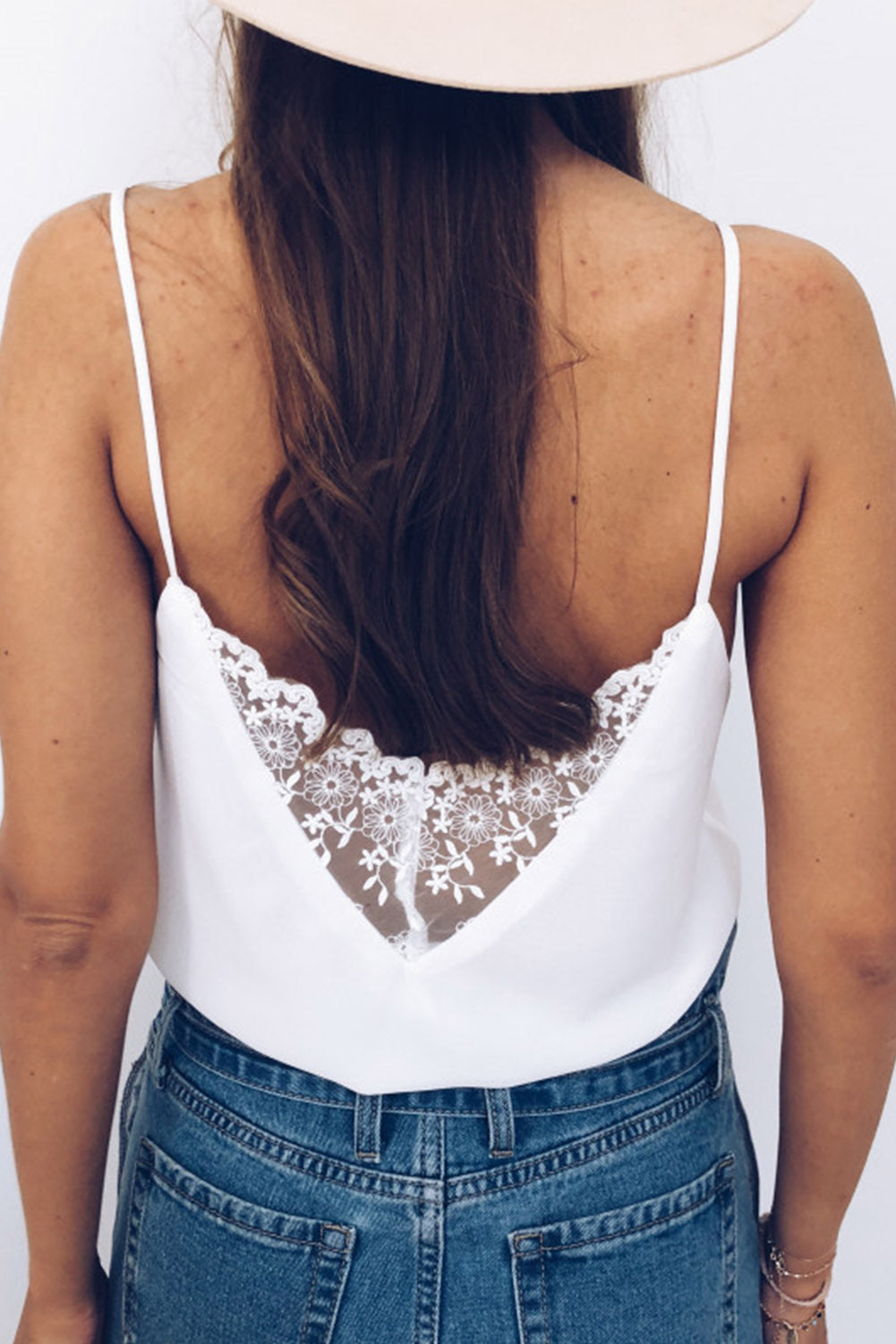 White Front Lace Button Tank Top