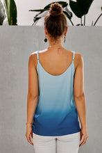 Load image into Gallery viewer, Blue Ombre Button Down V Neck Strappy Tank Top