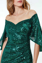 Load image into Gallery viewer, Green Off The Shoulder Sequined Maxi Dress