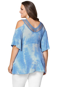 Blue Cold Shoulder Tie Dye V Neck Top